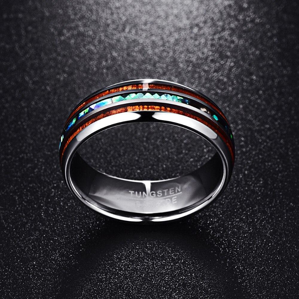 Nuncad 8mm Poliert Matte Abalone Shell Wolfram Hartmetall Ring Für Männer Voller Größe 4-17 T025R