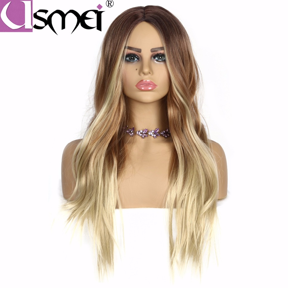 USMEI Hair 130 Density long natural wave synthetic wigs for white women ombre light brown blonde cosplay wigs Two Tones 30 Inch