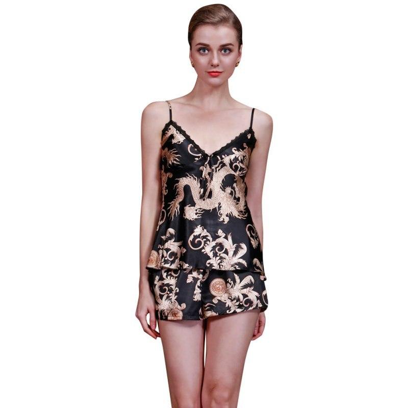 2018 Women Sleepwear Nightgowns lingerie Home Clothes Women summer Female pajamas Floral Sleepwear Silk Pajamas Lingerie Set
