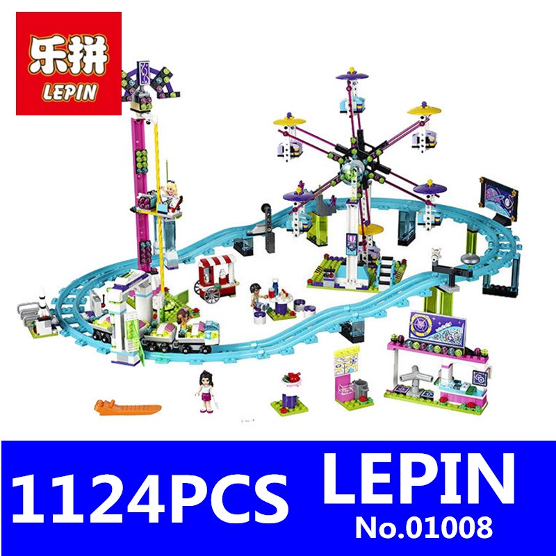 LEPINE 01008 1124Pcs Friends Amusement Park Roller Coaster Building Blocks Bricks Compatible 41130 Toys for Children Gift 10162 friends city park cafe building blocks bricks toys girl game toys for children house gift compatible with lego gift