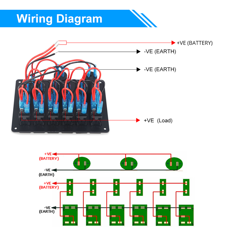 Waterproof 6 Gang Circuit Led Car Marine Boat Rocker Switch Panel Breakers 5v 3 1a Dual Usb Power Charger Socket 12v Voltmeter Car Switches Relays Aliexpress