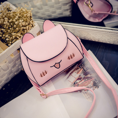 2017 Cute Cat Ears PU Leather Handbag Women Messenger Crossbody Small Bag in high quality 698