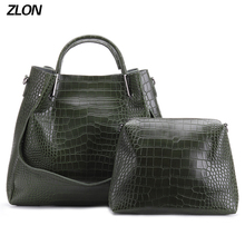 ZLON 2pcs/set Trend Women Bag Large Handbag With Crocodile Pattern Leather Tote Bag Female Ladies Small Shoulder Bags N113