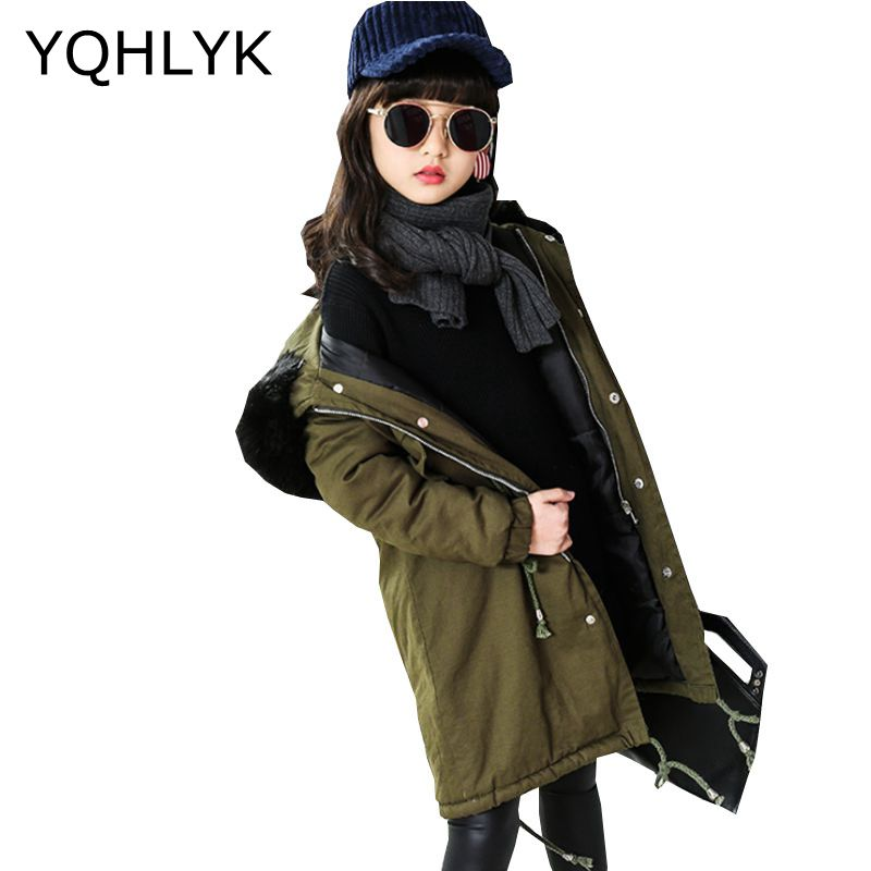 New Fashion Winter Girl Down Jacket 2017 Han edition Children Hooded Zipper Overcoat Casual Warm Kids Clothes Coat 4-13Y W18 new warm boys girls thin down cotton coat baby kids winter spring autumn down jacket children fashion hooded outwear clothes