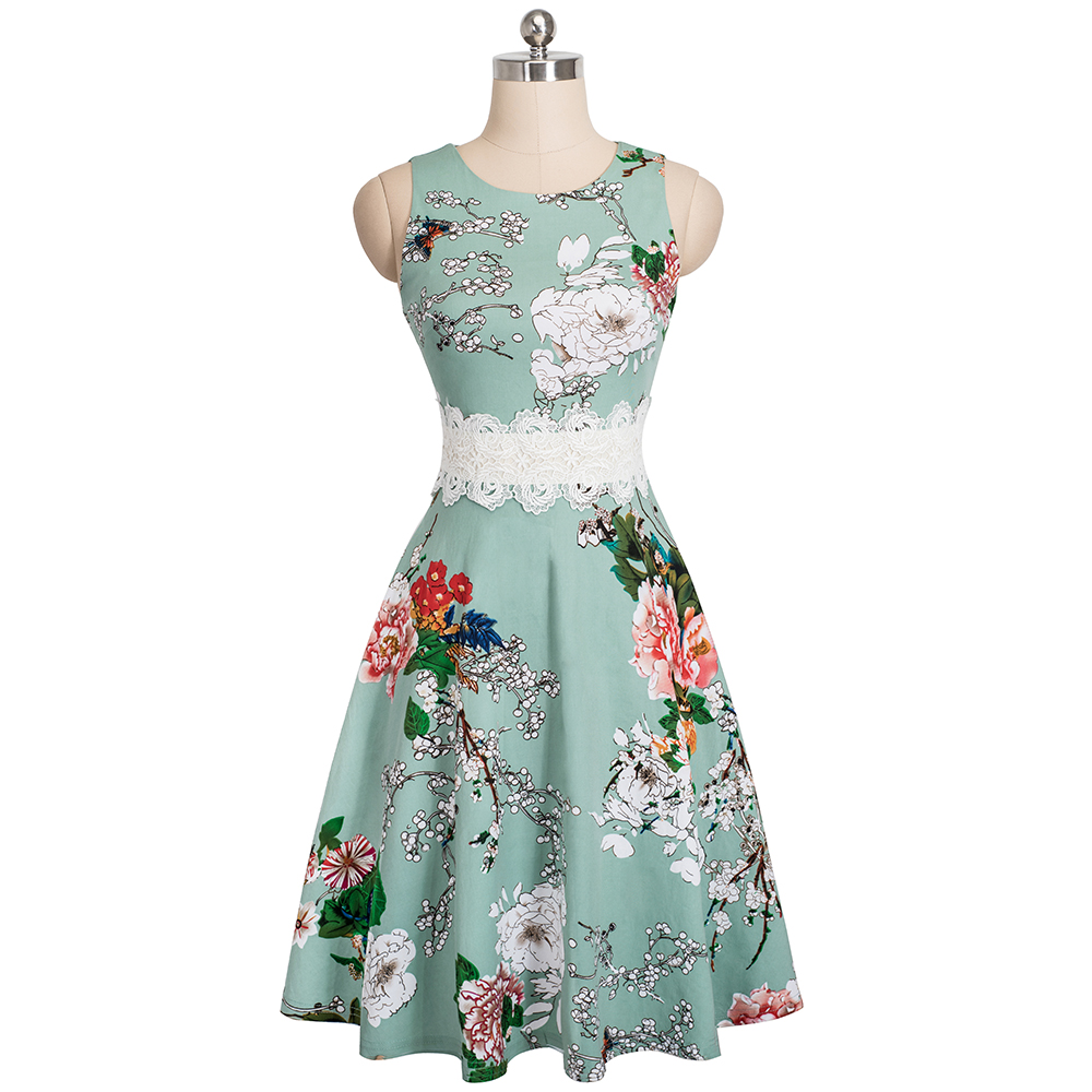 Nice-forever Vintage Elegant Embroidery Floral Lace Patchwork vestidos A-Line Pinup Business Women Party Flare Swing Dress A079 131