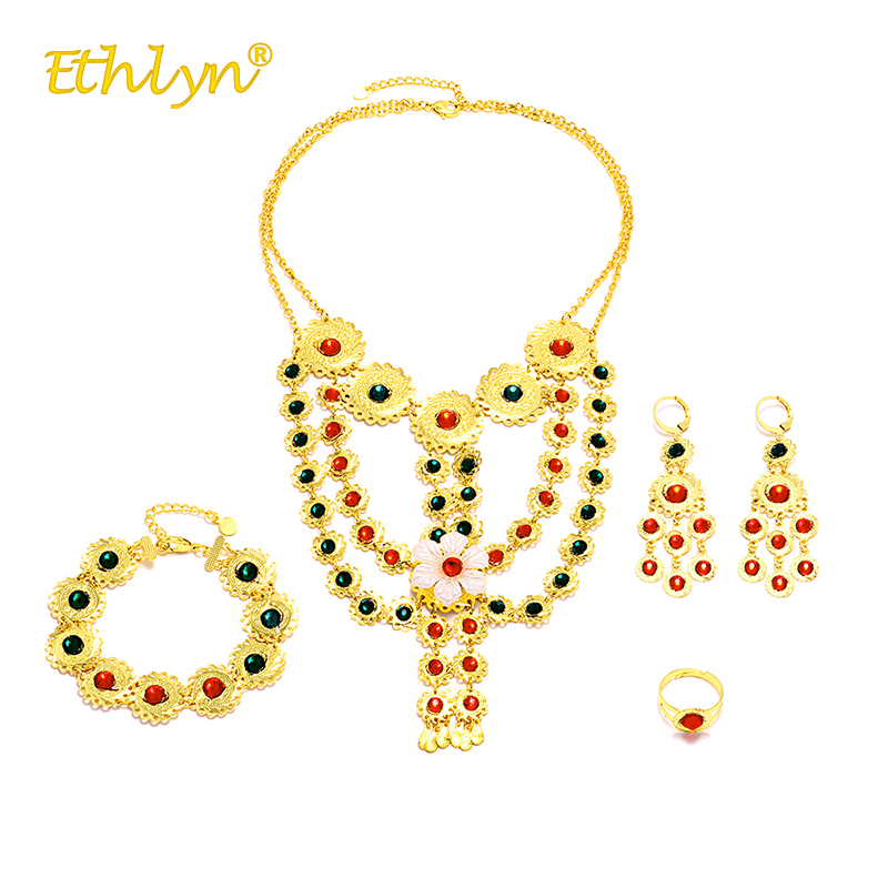 Ethlyn 2018 Middle East Muslim Religion Jewelry Sets for Women Crystal Luxury Necklace/ring/Earrings/Bracelet Female Gold Color 2018 new hot middle east fine jewelry colorful crystal sweater chain bracelet candy color gold rose necklace cute party necklace