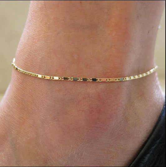 ファッション金薄膜チェーン足首チャームアンクレット脚ブレスレットフットジュエリー調節可能な足首ブレスレット用女性アクセサリー