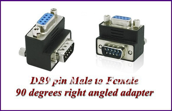 RS232 DB9pin Male To Female 90 Degrees Right Angled