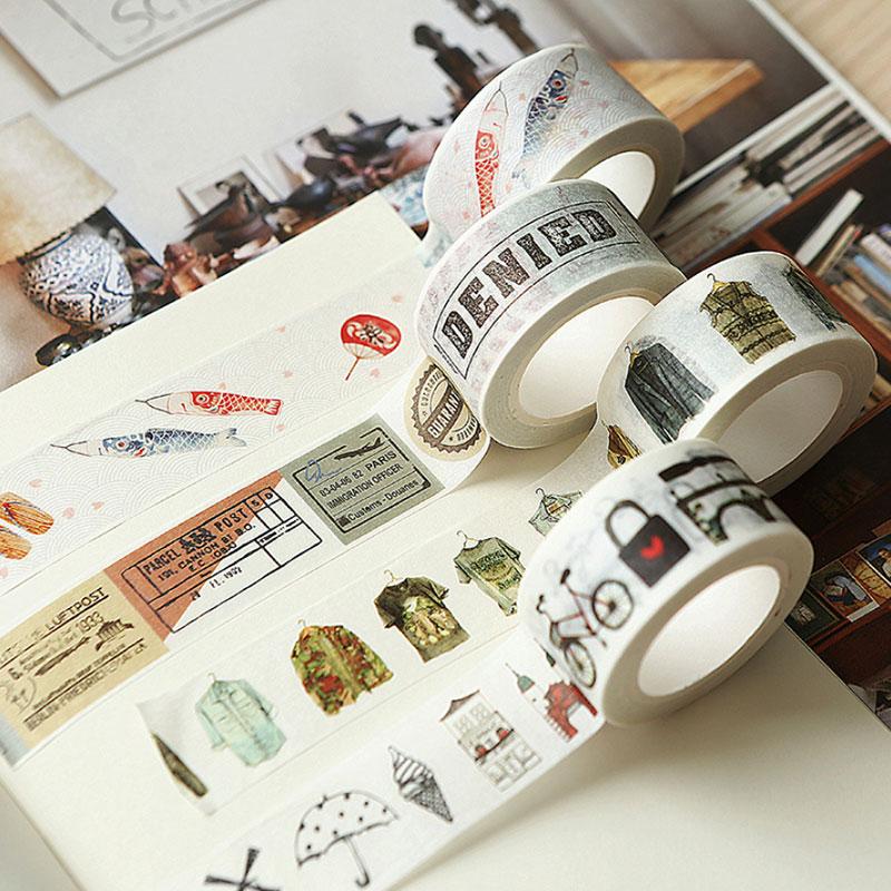 1 Pcs Vintage Travel Series 1.5-4 Cm Kawaii Washi Tape Children Like DIY Diary Decoration Masking Tape Stationery Tools