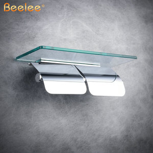 Image 3 - Beelee rulo kağıt havlu tutucu Çift Katı Pirinç Cam Banyo tuvalet kağıdı Tutucu Rulo Kağıt Için Banyo Aksesuarları