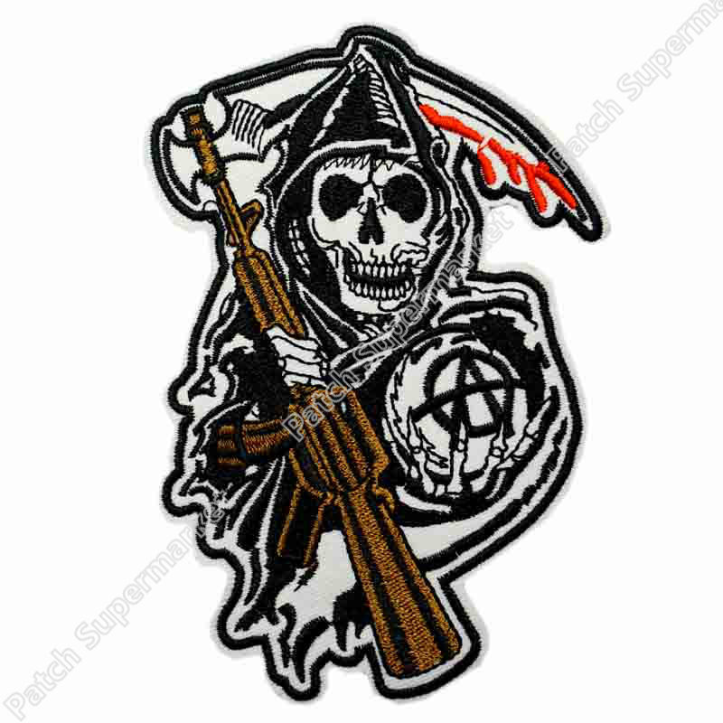 "11 ""XXL grand gilet de motard SOA GRIM REAPER MC patchs de motard brodés pour veste vêtements application patch squelette-in Patches à coudre from Maison & Animalerie    1"