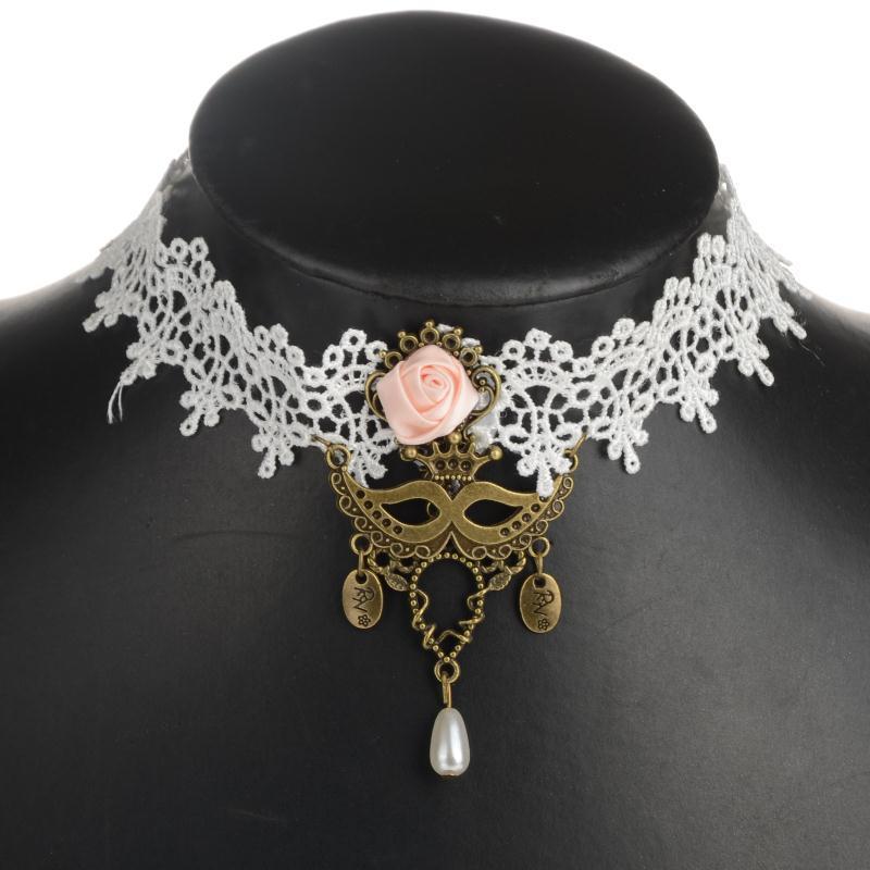 dcfcb4a950baa5 Archiwalne gotycka biżuteria maska białe koronki naszyjniki kobiety ślubne  Victorian Gothic Lace Tassel fałszywy kołnierz naszyjnik i wisiorki