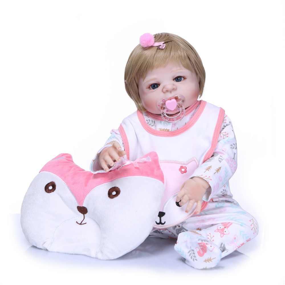 NPK реального 57 см всего тела силиконовый девочка возрождается младенцев кукла игрушки для ванной принцесса Младенцы Куклы парик волосы подарок на день рождения детей Brinquedos