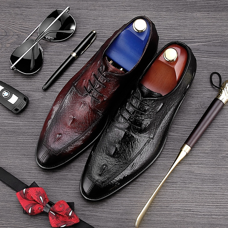 2017 Luxury Brand Pointed Toe Man Formal Dress Shoes Genuine Leather Alligator Party Oxfords Men's Wedding Bridal Footwear NE10 цена 2017