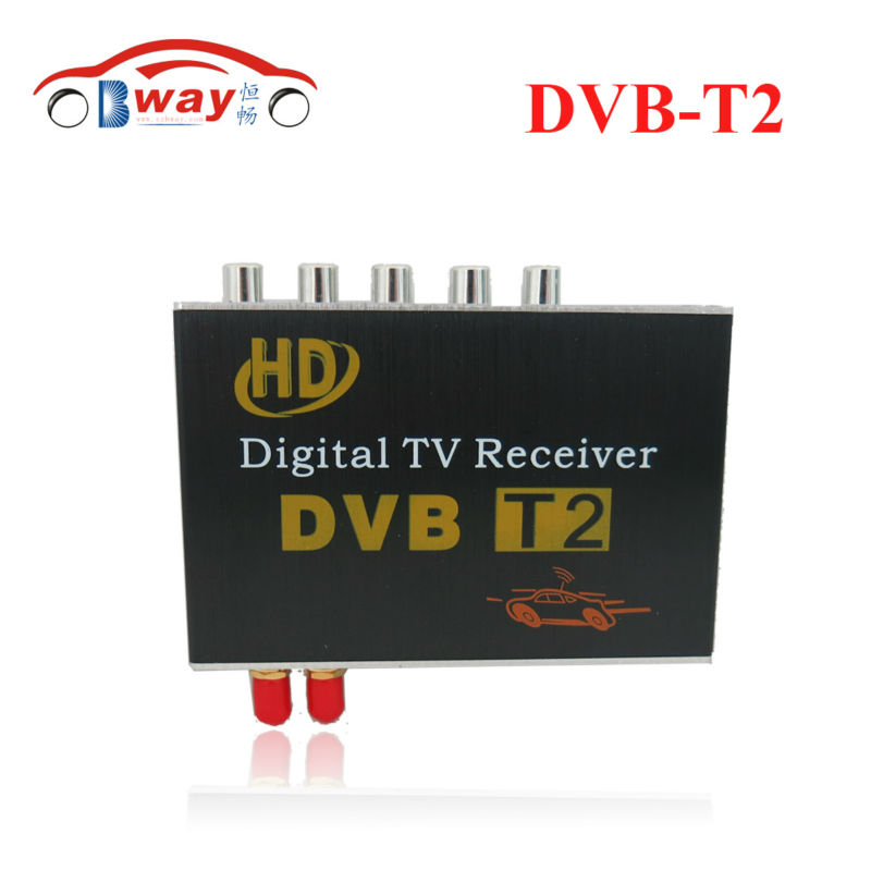 DVB-T2 Car  digital TV box with 4 video output ,two tuners supporting high-speed up to 130KM/H for car dvd  and monitor new car dvb t2 digital tv box dual tuner mpeg2 and mpeg4 avc h 264