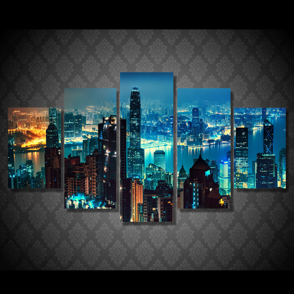 5 Piece HD Printed New York City Skyscrapers Framed Wall Picture Art Poster Painting On  ...