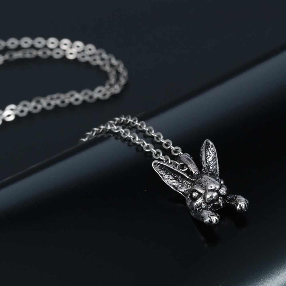 QIAMNI الهيب هوب نمط الرجعية 10 قطع 3D واقعية أرنب رئيس على شكل الحيوان فريد قلائد هدية للنساء و الفتيات