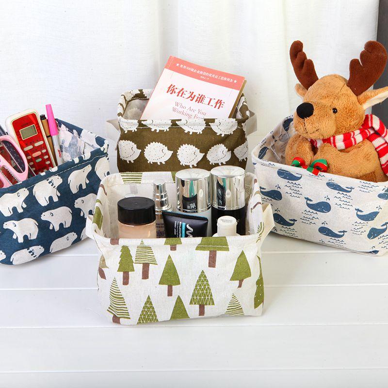 Vintage Printed Foldable Cotton Linen Desktop Debris Storage Basket Makeup Cosmetic Fabric Box Bag Container Organizer