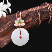 Nephrite Blessing peace pendant female cute little pendant 925 sterling silver inlaid nephrite pendant necklace the gift of love s925 filaments shaolan craft silver inlaid huang yusui pendant in front of blessing silver supply