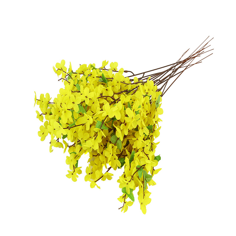Small 20pcs Lot Artificial Fake Flower Long Yellow Color Diy For Home Party Decoration Plastic
