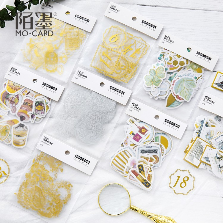 45pcs/pack Gold PVC Paper Sticker Magic Stick/World Travelling Stickers Korean Stickers Papers Flakes For Card Album Decorative
