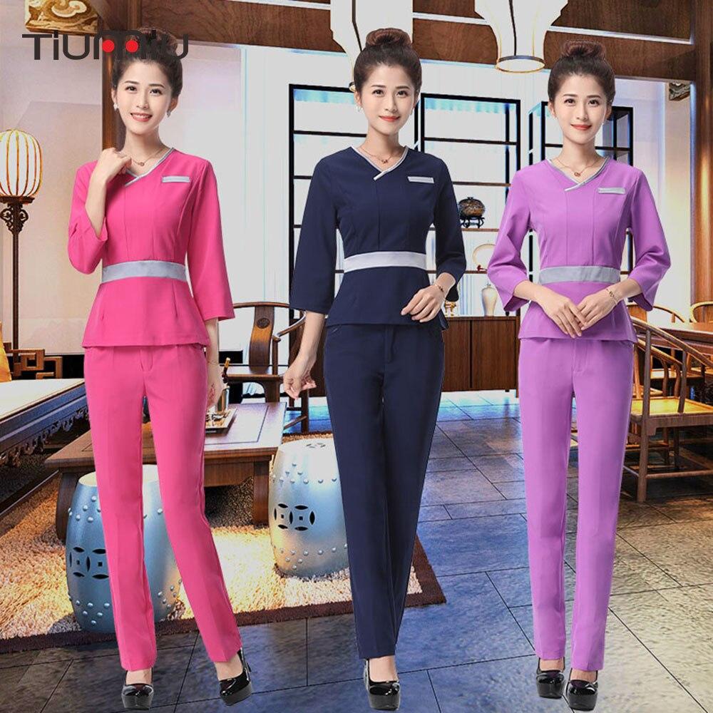 Spa uniform long sleeve jacket pants uniform women medical for Spa uniform female