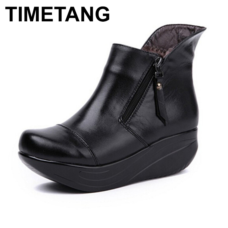 TIMETANG Vintage Zipper Women Boots Black Genuine Leather Wedges Swing Shoes Warm Plush Winter Shoes Round Toe Platform Shoes women snow boots wedges ankle boots fashion slimming swing shoes plush solid round toe platform shoes lady casual winter boots32