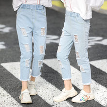 New Summer Girls Light Jeans With Holes Broken Hole Ripped for Infant Pants Trendy Kids Trousers 4-13Y