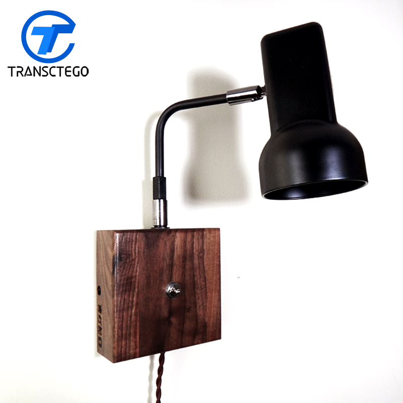 Wall Lamp retro led lights Walnut Retro bedside lamps reading vintage wall lighting living bedroom modern lamp trophy wall lamp wall lamp bed lighting bedside wall lamp