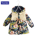 2016 Winter Girls Coat Floral Hooded Zipper Parka Autumn/Winter Warm Kids Jacket Fashion Unisex Coats Outwear Clothing Hot Sale