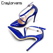 Craylorvans Top Quality Big Size 33-46 Ocean Blue 2017 Spring Summer Cross-tied Women Pumps High Heels Ankle Strap  Women Shoes
