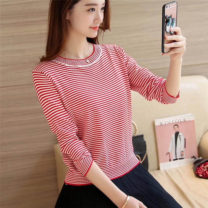 28 nueva primavera de rayas finas suéter Coreano delgado Camisa de Cuello Alto F
