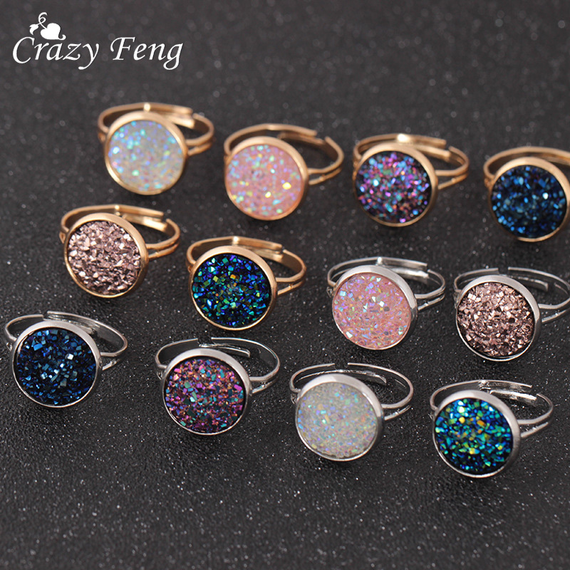 Crazy Feng Trendy Druzy Stone Finger Rings For Women Silver Good Color Party Wedding Ring Anel Ring Jewelry Adjustable Size