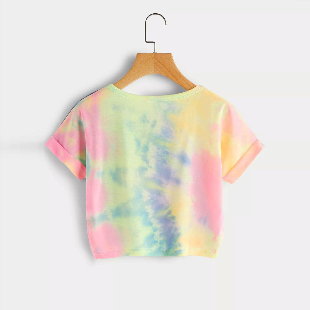 Camisa feminina Summer Women Tee Shirts Gradient Letter Print Tops Women Ladies Short Sleeve Tops Casual T-shirt Tie dye Xew