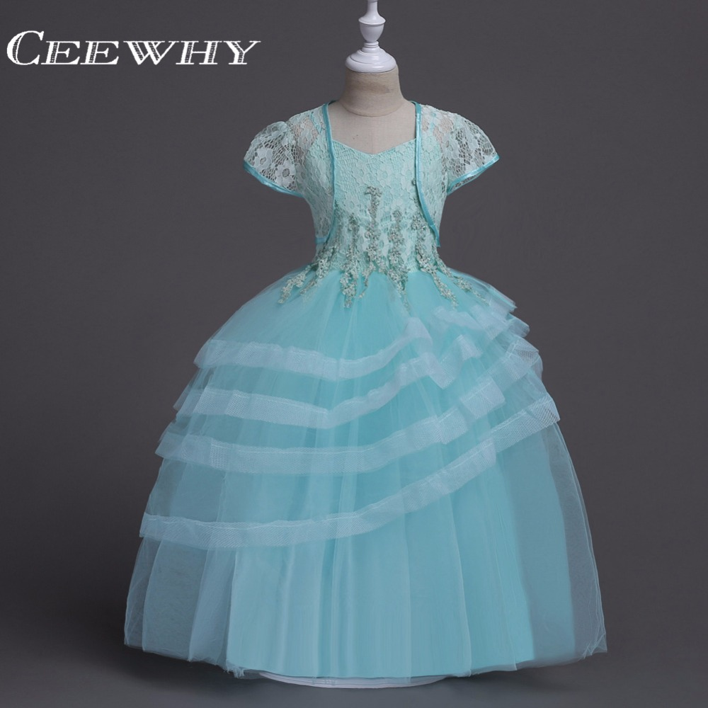 CEEWHY Embroidery Beaded   Flower     Girl     Dresses   with Jacket Short Sleeve Ball Gown First Commmunion   Dresses   For   Girls     Dresses