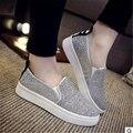 Новый 2016 модный бренд дамы досуг холст обувь на плоской мокасины толстой подошве размер 36-40
