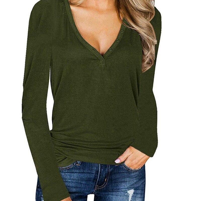 Basic T Shirt Long Sleeve T Shirt Women Slim Button V-neck Ladies Top Casual Loose Women's Bottoming Shirt Female Plus Size