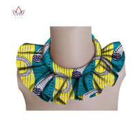 BRW אנקרה אפריקאית אנקרה בד הדפסת אפריקה לולאות שרשראות קולרים להסרה WYX10 תכשיטים בעבודת יד צבעוני צווארון שווא