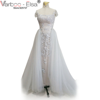 Detachable Prom Dresses Scoop Neck Cap Sleeves Lace Appliques Sheer Prom Dresses Tulle Grey Prom Dresses