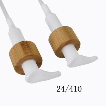 10pcs 24/410 white bamboo shower gel/body wash/lotion packaging bottle cap press pump head cover lid cosmetic accessories tools 1