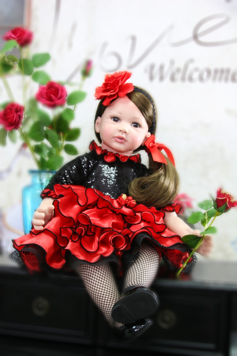 60cm Silicone Reborn Baby Girl Doll Toys For Children 24inch Vinyl Toddler Princess Babies Dolls Lovely Kids Birthday Gift Play reborn baby doll vinyl silicone 28 inch 70 cm babies doll lifelike express toys girl for children gift beautiful princess dress