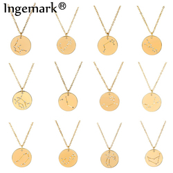 Ingemark 12 Zodiac Constellations Pendant Choker Necklace Birthday Gift Unique Crystal Leo Libra Women Long Chain Necklace