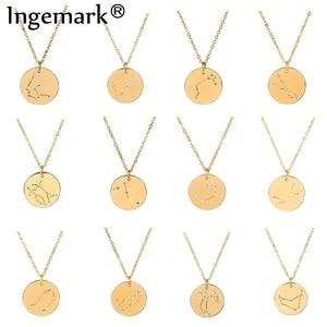 Ingemark 12 Zodiac Constellations Pendant Choker Necklace Birthday Gift Unique Crystal Leo Libra Women Long Chain Necklace