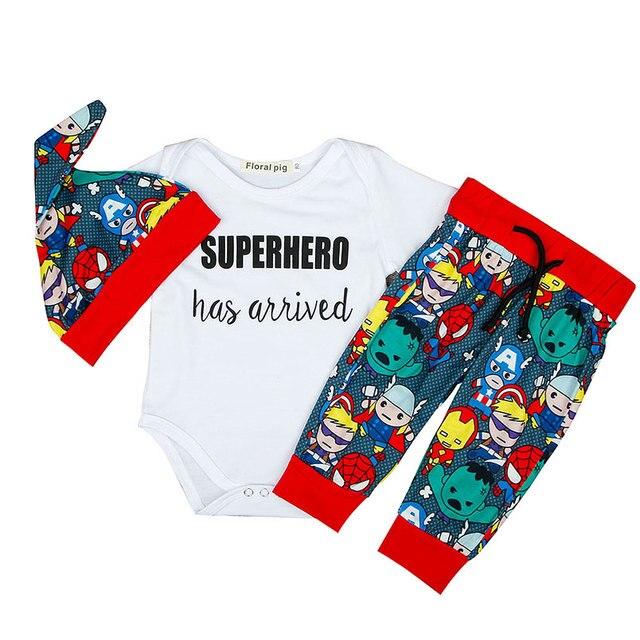 bf59d5c861f3 Fashion Baby Clothes Set Romper Shirt +Printing SUPERHERO Pants +hat 3Pcs  Set Toddler Boy Girl Clothing Cotton Outfit Play Mats