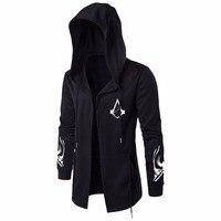 Assassins Creed Hoodies Homens Cardigan Preto Com Capuz Manto Roupas M-5XL Hoodies Outerwear Jaqueta Sudaderas Hombre