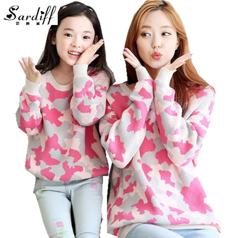 Sardiff 2017 Family Matching Outfits Pink Camouflage Sweater Sets Mother Daughter SweaterShirt For Family Fashion Clothes Sets
