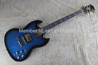 Free shipping Wholesale metallic custom guitar SG gold hardware 2 pickups Electric guitar