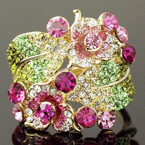 Chran Brand Jewelry Rings Fashion Elegant Crystal Flower Engagement Rings for Women in Rings from Jewelry Accessories