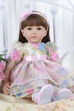 цена 58-60cm High-end vinyl silicone reborn baby doll toy newborn girl babies princess doll birthday holiday gift play house toy онлайн в 2017 году