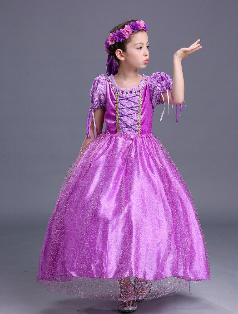 Moda prinsessenjurken meisjes 2 a 13 AÑOS NIÑOS Rapunzel Cosplay ...